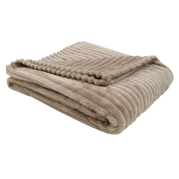"Monarch 60"" x 50"" Ultra Soft Ribbed Style Throw Blanket - Beige 