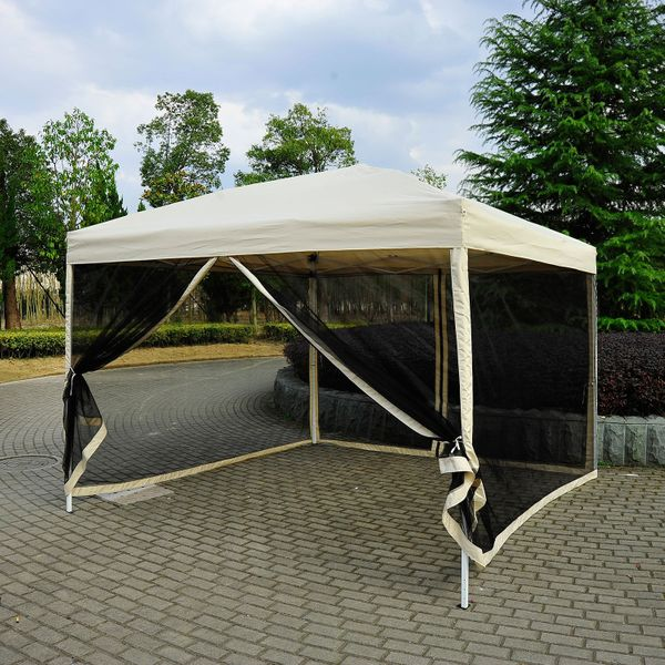 Outsunny 10' x 10' Easy Pop Up Canopy Sunshade Tent Wedding Party Sun Shelter Cover with Mesh Sidewalls - Beige | Aosom