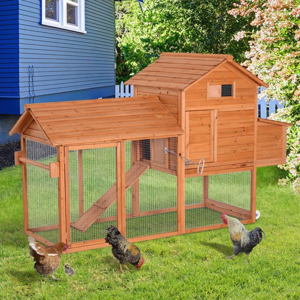 """Pawhut Chicken Coop 83"""" Hen House with Run and Wheels?Deluxe Portable Backyard Wood Chicken Coop with Fence 