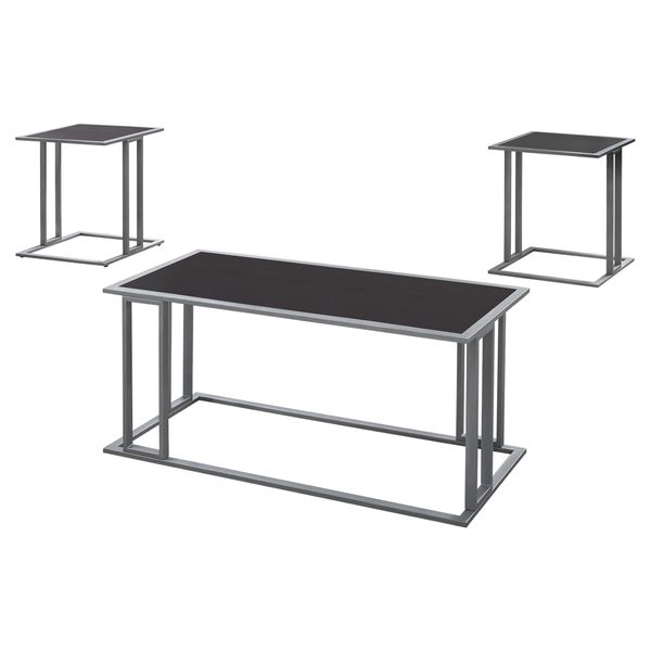 Monarch 3 Piece Modern Minimalist Smooth Laminate Coffee Table / Two Matching End Tables Set - Cappuccino / Silver Metal   Aosom