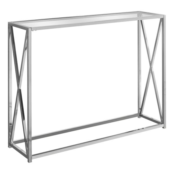 """Monarch 42"""" Contemporary Tempered Glass Accent Hall Sofa Console Table with X-Design Metal Base - Chrome   Aosom"""