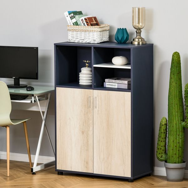 HOMCOM Multifunctional Storage Cabinet Bookcase with Doors and Display Shelves for Books  Photos  Blue and Natural Wood Wooden Cube Box Double Finish Open Shelving   Aosom