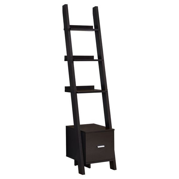 """Monarch 69"""" Contemporary Wood Grain-Look 4-Shelf Narrow Ladder Bookcase with Storage Drawer - Cappuccino Brown Finish 