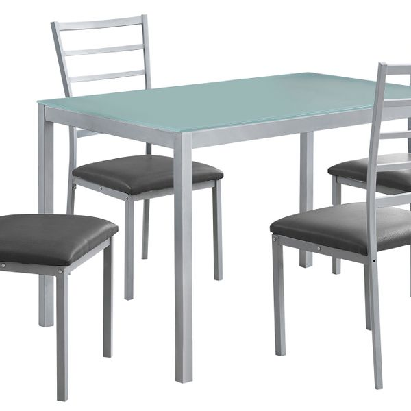 """Monarch 5 Piece 48"""" Rectangular Glasstop Metal Framed Table and Chairs Dining Set - Silver 