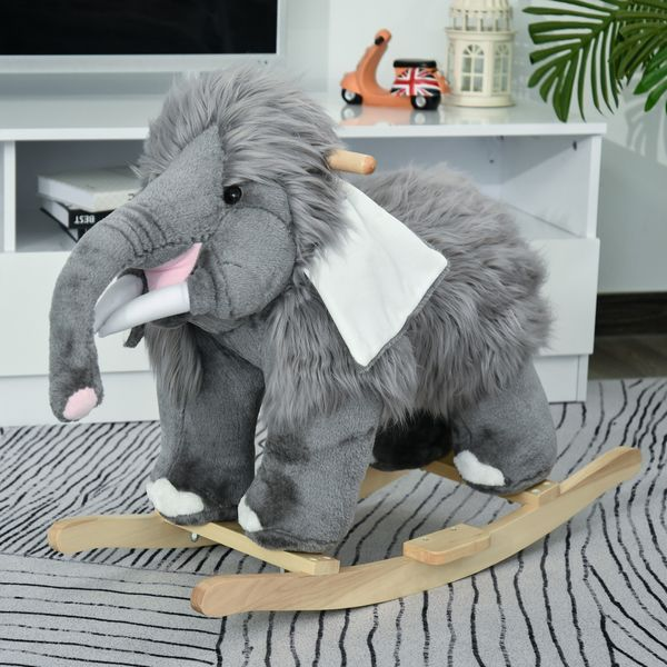 Qaba Kids Plush Ride-On Rocking Horse Toy Mammoth Elephant Ride on Rocker with Realistic Sounds for Child 18-36 Months Grey Grip   Aosom