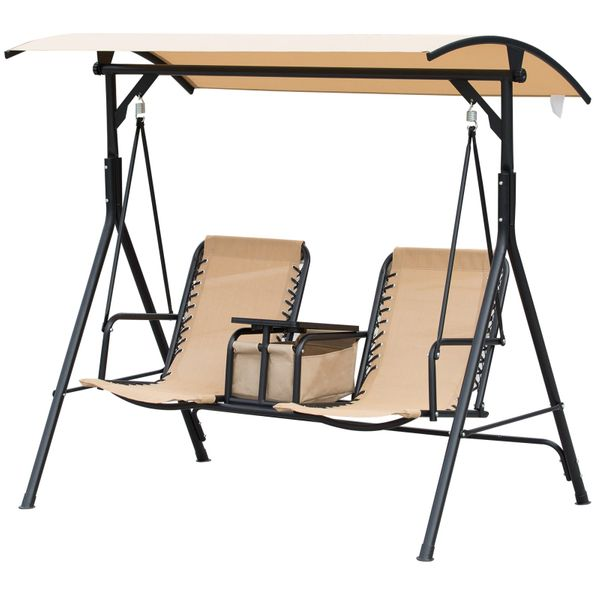 Outsunny 2 Person Covered Porch Swing with Pivot Storage Table Cup Holder & Sling Fabric with Adjustable Comfort Beige 2Person Patio   Aosom