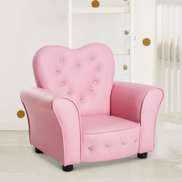 Qaba Kids Princess Sofa Chair Tufted Upholstered Seat - Pink | Aosom