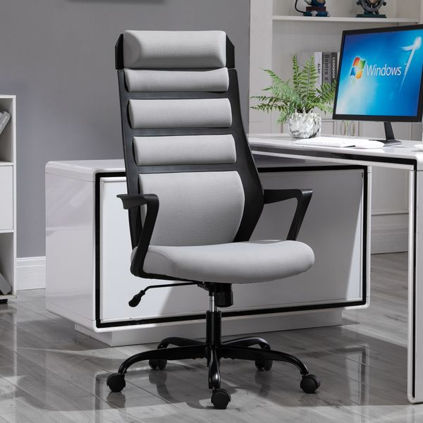 Vinsetto Ergonomic Office Chair High-Back Home Office Desk Chair With Spandex Fabric Thick Padding With 360 Swivel Wheels - Grey | Aosom