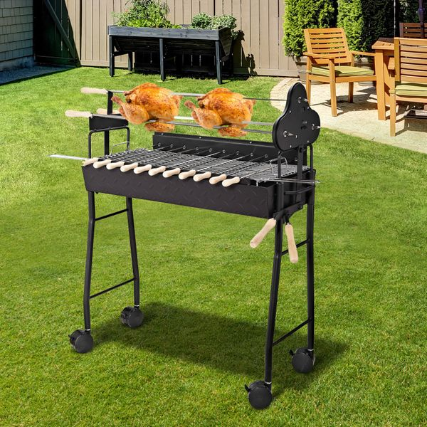 Outsunny 2 in 1 Portable Charcoal Grill Barbecue Trolley BBQ Heat Smoker Grilling with BBQ Forks for Camping Picnic Party Happy Grilling Time Patio Folding w/ | Aosom