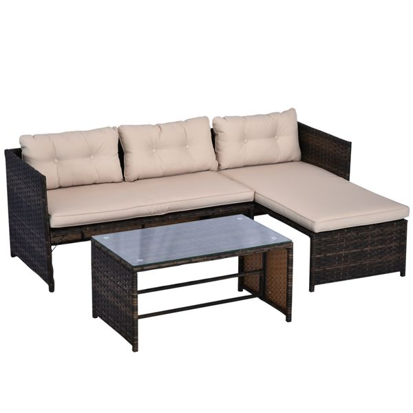Outsunny 3 Piece Garden Patio Sofa Set PE Rattan Wicker Deck Couch Outdoor Furniture Cushioned Chaise Lounge | Aosom