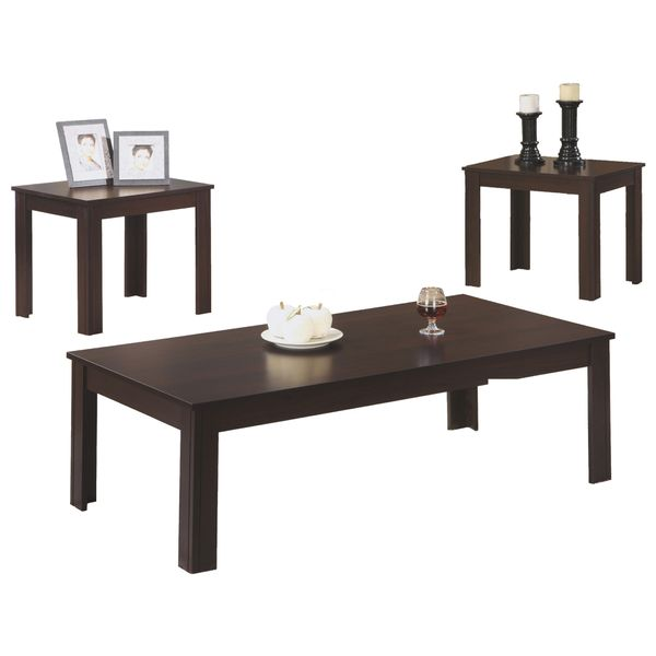 Monarch 3 Piece Contemporary Rectangular Coffee Table / Two Matching End Tables Set - Cappuccino   Aosom