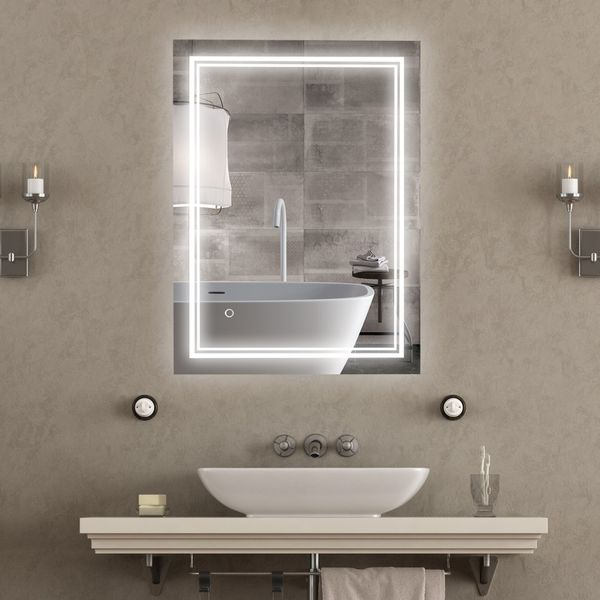 kleankin 32 x 24 Inch LED Lighted Bathroom Mirror, Wall Mounted Makeup Vanity Mirror with Lights, Smart Touch Button, Plug-in Light | Aosom