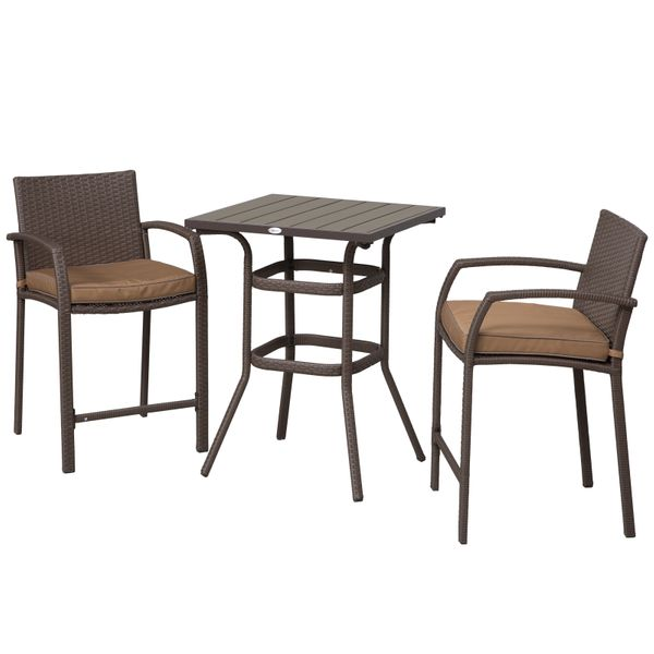 Outsunny 3 Piece Outdoor PE Rattan Wicker Patio Conversation Table Set with 2 Chairs & 1 Center Coffee Table Brown 3-pcs Barstool Footrest | Aosom