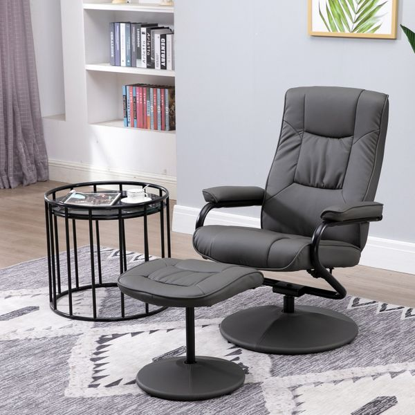 HOMCOM Adjustable Leisure Recliner Chair and Ottoman Set with Swiveling Base  Polyester Fabric  Grey | Aosom