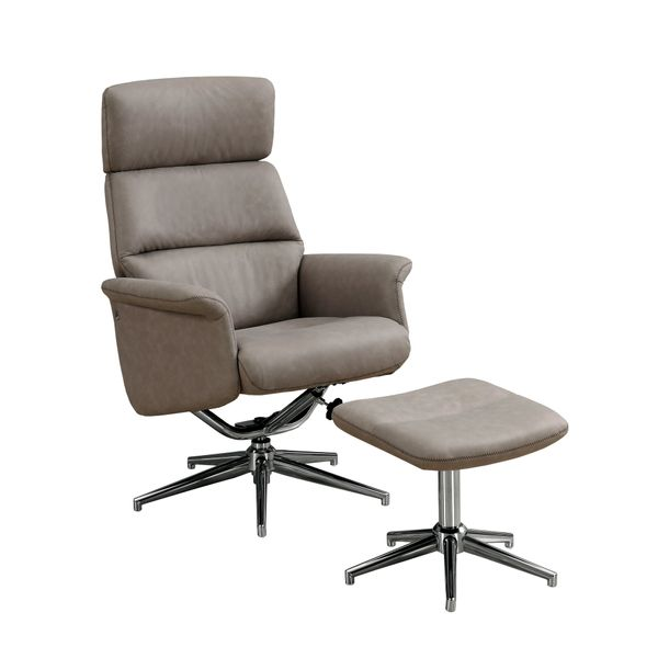 Monarch Ultra-Modern Upholstered Faux Suede Swivel Recliner with Matching Ottoman - Taupe | Aosom