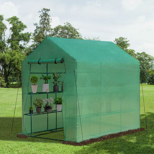 Outsunny 7' x 5' x 6' 2-Tier Shelf Greenhouse for Outdoor Garden Plant & Plant Use with PE Cover & Steel Frame Warm House | Aosom
