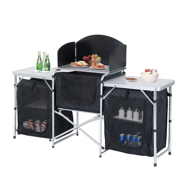Outsunny 6' Deluxe Portable Fold-Up Camp Kitchen with Windscreen 6' deluxe portable camp kitchen | Aosom