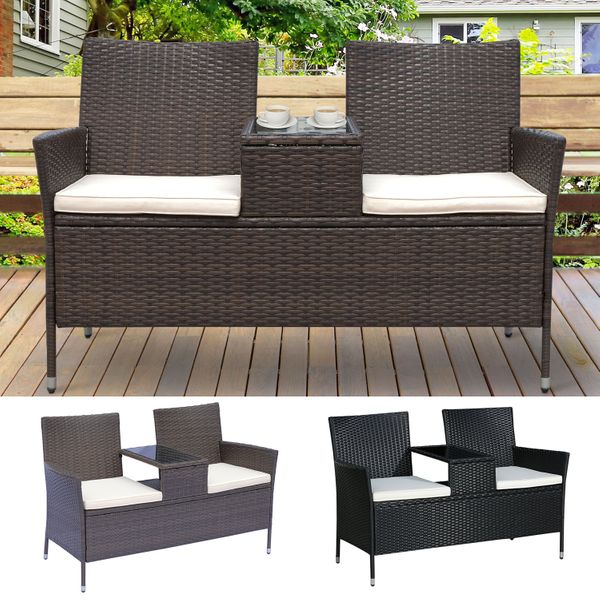 2 Seat Rattan Wicker Chair Bench with Tea Table Padded Seat | Aosom