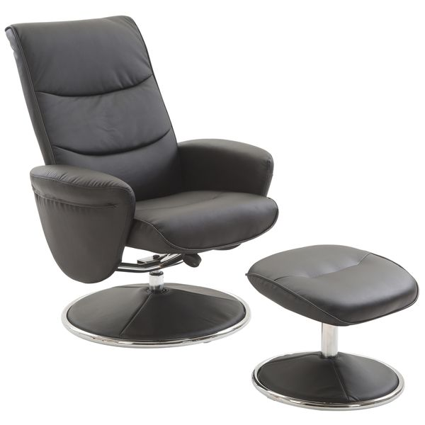 HOMCOM PU Leather Modern Swivel Recliner Chair with Ottoman Set - Black|AOSOM.COM