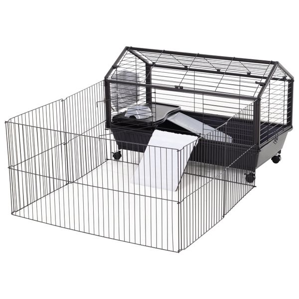 """PawHut Rolling Metal Rabbit, Guinea Pig or Small Animal Hutch Cage with Main House and Run 35"""" L 