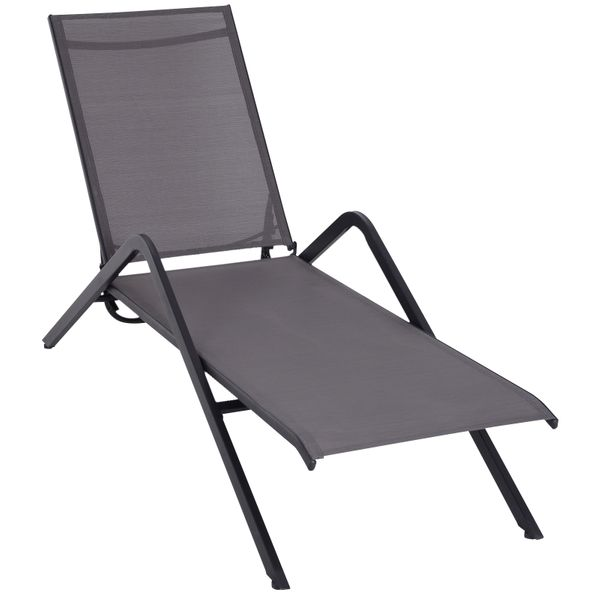 Outsunny Adjustable Folding Outdoor Chaise Lounge Chair Steel Mesh Portable - mesh adjustable lounge chair | Aosom