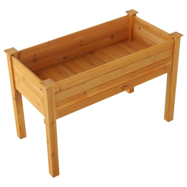 """Outsunny 2"""" x 4"""" Wood Elevated Garden Bed Outdoor Raised Planter Box with Legs / wooden elevated garden bed 