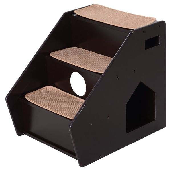 PawHut 3-Step Pet Stairs for Dogs and Cats with Built-in House and Carpet Brown|AOSOM.COM