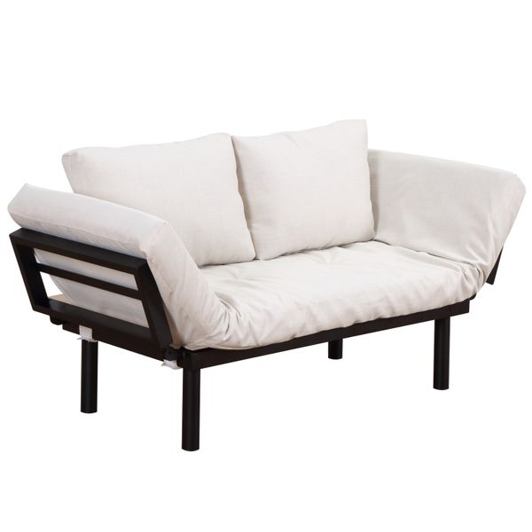 HOMCOM Single Person 3 Position Convertible Couch Chaise Lounger Sofa Bed | aosom com