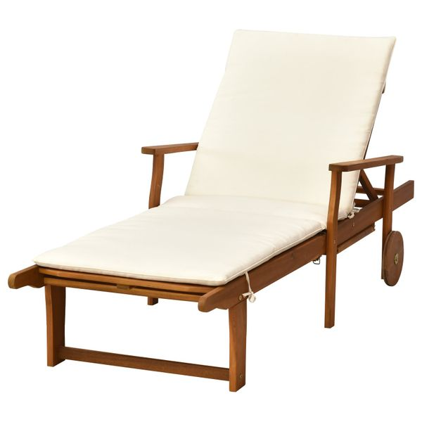 Outsunny Reclining Chaise Lounge Relaxing Chair With 4-Level Adjustable Backrest & Convenient Pull-Out Side Tray Compact | Aosom