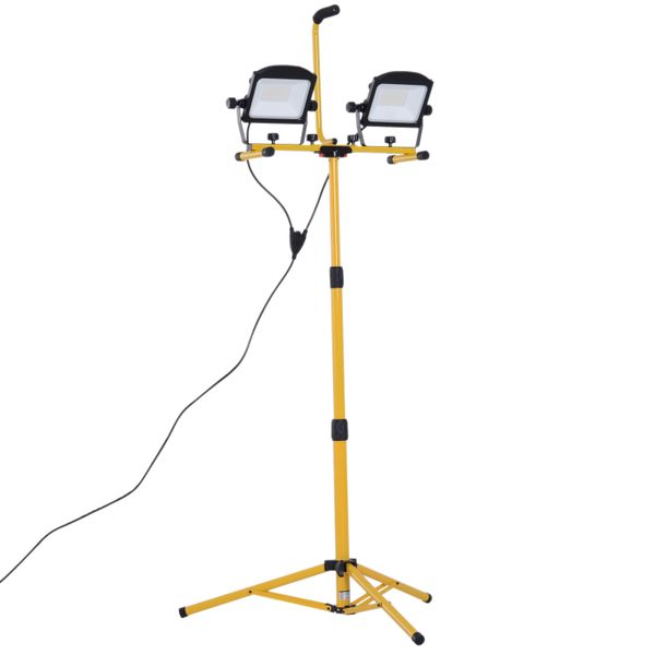 HOMCOM 10000 Lumen Dual Head Weather Resistant LED Work Lights with Tripod Stand | Aosom
