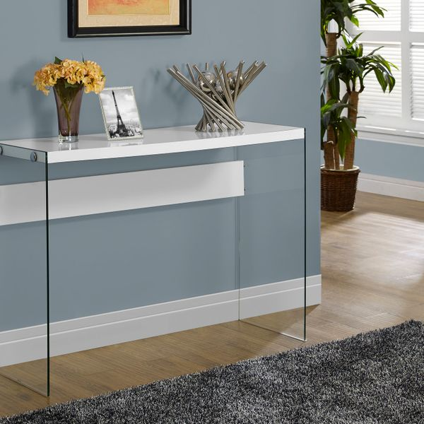 """Monarch 44"""" Modern Tempered Glass Frame Accent Hall Sofa Console Table - White Glossy Finish 