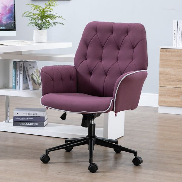 Vinsetto Modern Mid Back Tufted Linen Fabric Home Office Task Chair With Arms Swivel Adjustable Purple Desk Chairs Aosom