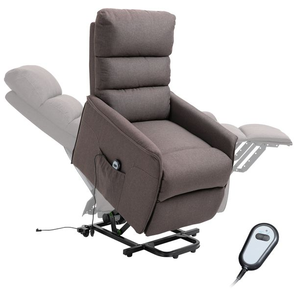 HOMCOM Power Lift Assist Recliner Chair for Elderly with Wheels and Remote Control Linen Fabric Upholstery Brown | Aosom