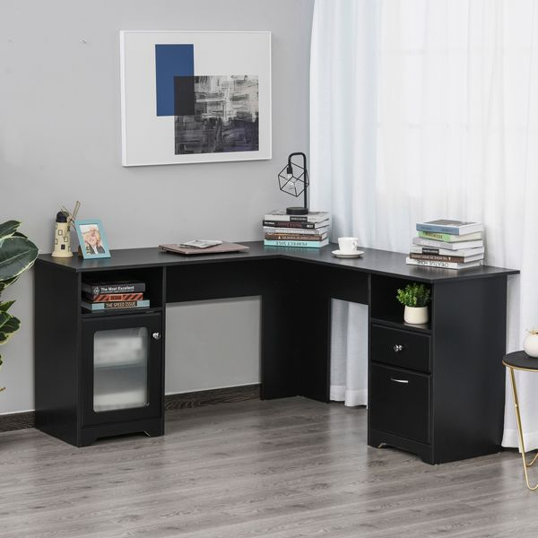 HOMCOM L-Shaped Corner Computer Desk PC Workstation Student Writing Table with Storage Shelf /& Drawers for Home Office