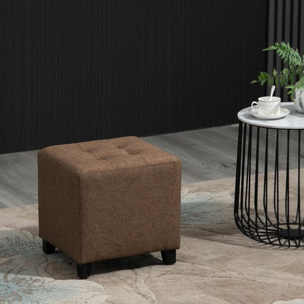 HOMCOM Tufted Ottoman Linen-Touch Fabric Upholstered Footstool Footrest Coffee Table  Brown   Aosom