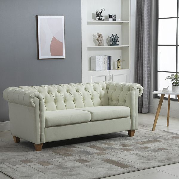 HOMCOM Retro 2-Seater Sofa Linen Fabric Couch with Rubberwood Legs, and Rolled Arms for Living Room, Cream White Sturdy   Aosom