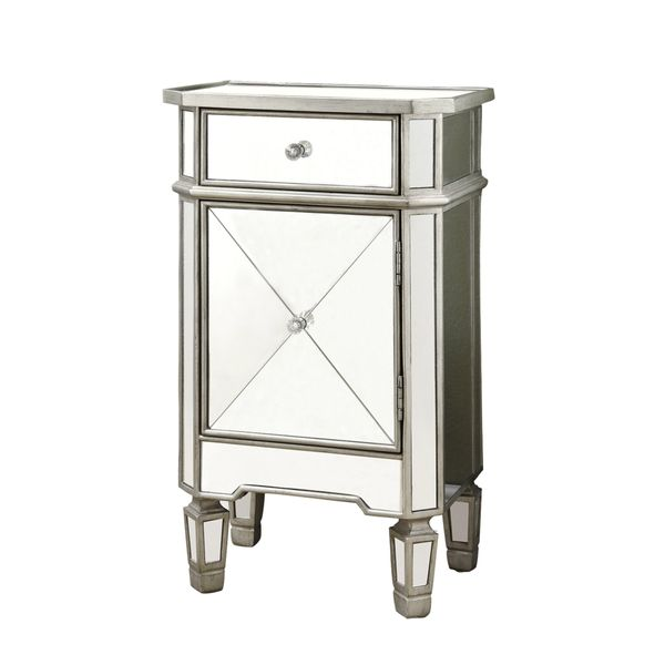 """Monarch 29"""" Contemporary Mirrored Accent Side End Table Chest with Storage Drawer - Brushed Silver Trim   Aosom"""