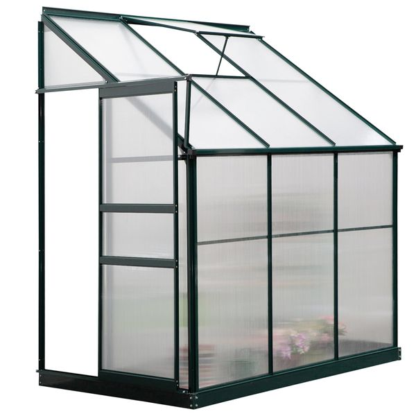 Outsunny Walk-In Garden Greenhouse Aluminum Polycarbonate with Roof Vent for Plants Herbs Vegetables 6.3' x 4' x 7.25' Airy   Aosom