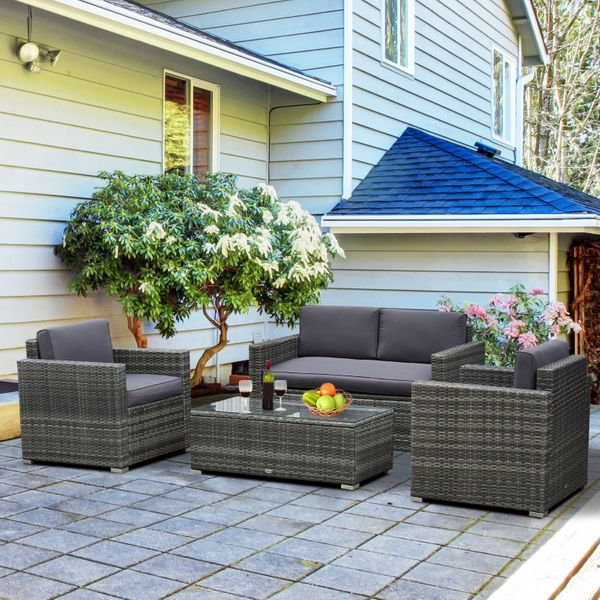 Outsunny 4-Piece Cushioned Patio Furniture Set  with 2 Chairs  Sectional  and Glass Coffee Table  Rattan Wicker  Grey the Backyard/Patio/Deck | Aosom