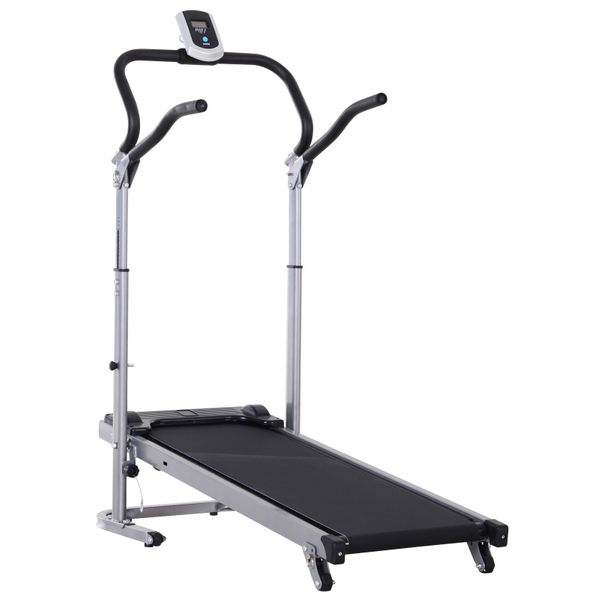 Soozier Folding Walking Incline Manual Treadmill Machine for Home Walking and Running with LCD Screen AOSOM.COM
