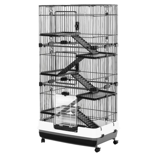 PawHut 5-Level Metal Rabbit Ferret Cage Main House Guinea Pig Hutch Indoor Small Animal Shed W/Wheels and Brakes Large Run Detachable Black | Aosom