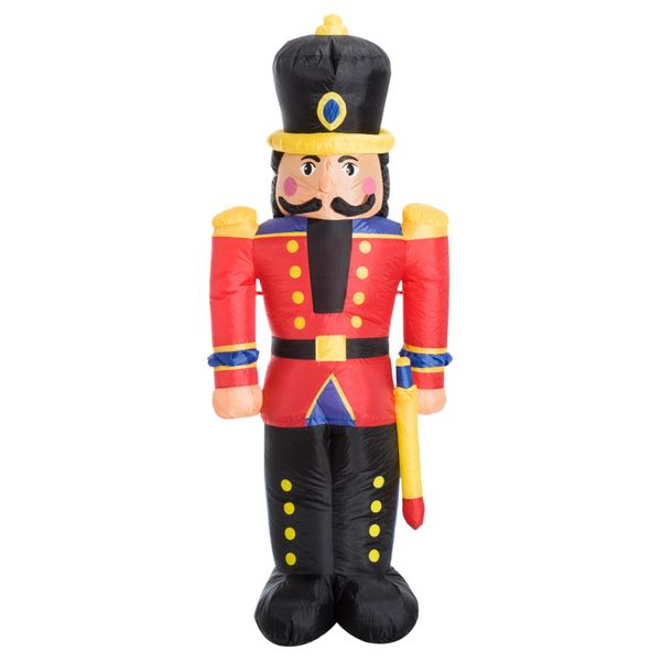 HomCom 6 Foot Tall Lighted Christmas Inflatable Toy Soldier Outdoor Lawn Decoration   Aosom