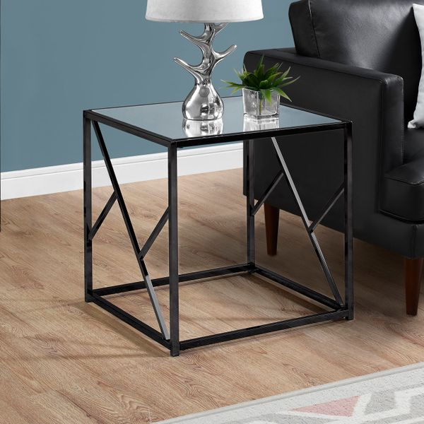 """Monarch 22"""" Minimalist Glam Mirrored Top Metal Frame Accent Side End Table - Black Nickel Finish   Aosom"""