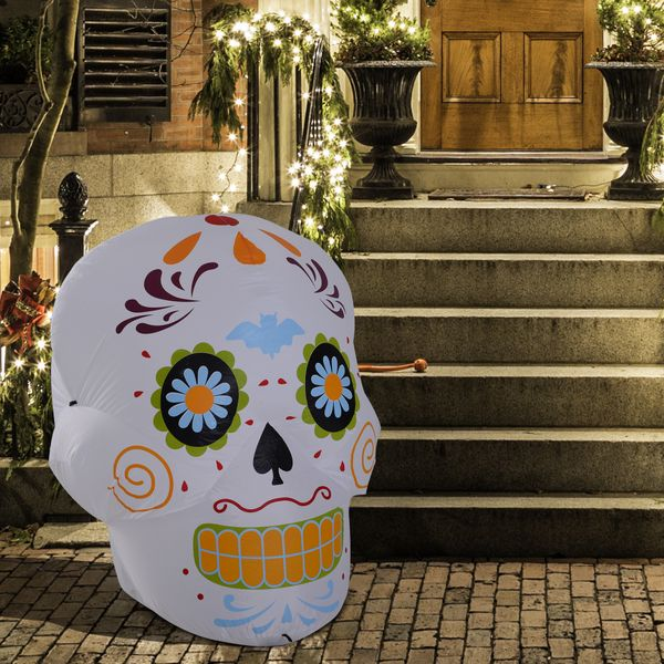 HOMCOM 4' LED Outdoor Halloween Inflatable Decoration - Day of the Dead Sugar Skull|AOSOM.COM