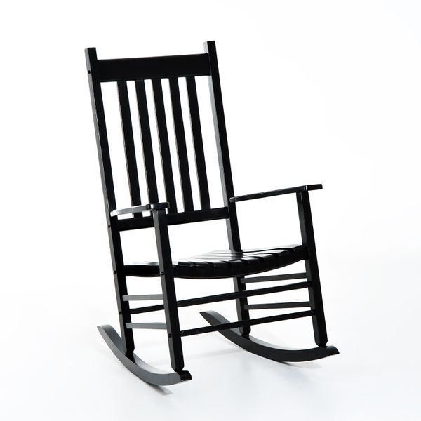 Outsunny Wooden Outdoor Rocking Chair - Black / Porch Patio Rocker outdoor wooden rocking chair | Aosom