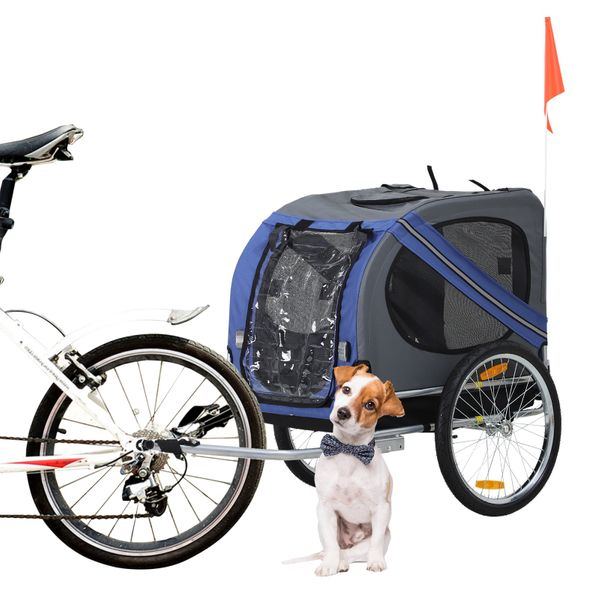 Aosom Outdoor Folding Pet Dog Bicycle Trailer and Stroller Jogger Cart - Blue and Grey | Aosom