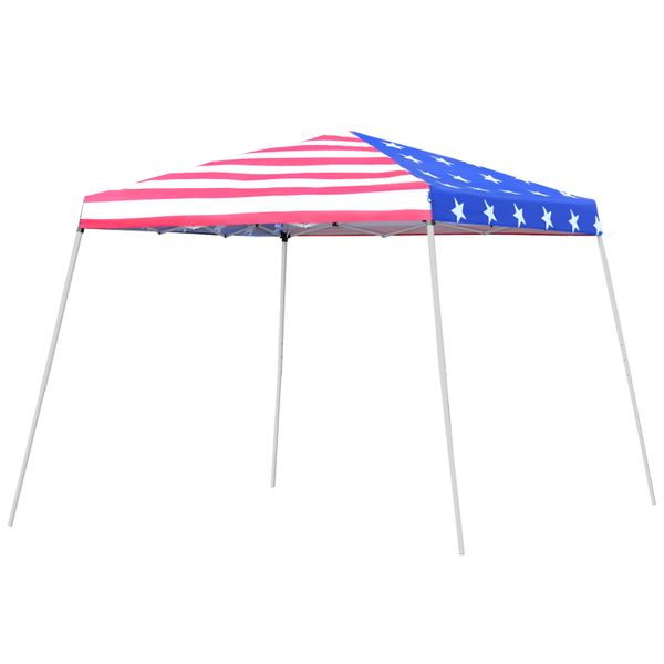 Outsunny 10'x 10' Outdoor Easy Pop Up Canopy Event Tent with Slanted Legs for Weddings  & Parties - American Flag / EZ Folding Patio Gazebo Shade Patriotic Portable Shade Canopy | Aosom