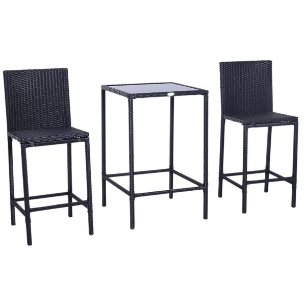 Outsunny 3pc Rattan Wicker Bar Dining Bistro Barstool Chair Table Furniture Set Patio Dining Set | Aosom