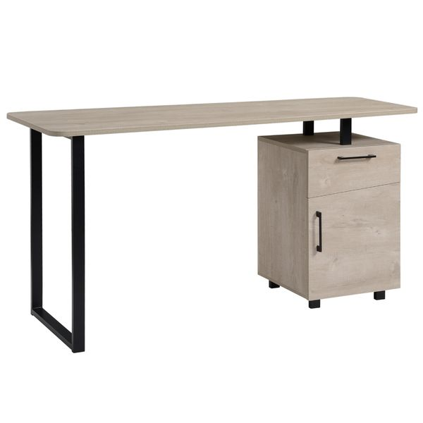 HOMCOM Computer Writing Desk Home Office Workstation  Study Table with Drawer and Cabinet  Oak Storage | Aosom