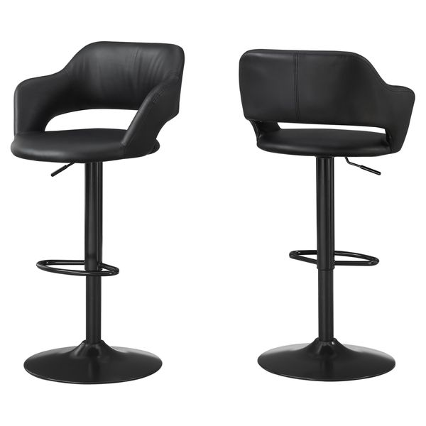 Monarch Contemporary PU Leather Curved Seat Back Hydraulic Lift Swivel Barstool Chair - Black Finish   Aosom